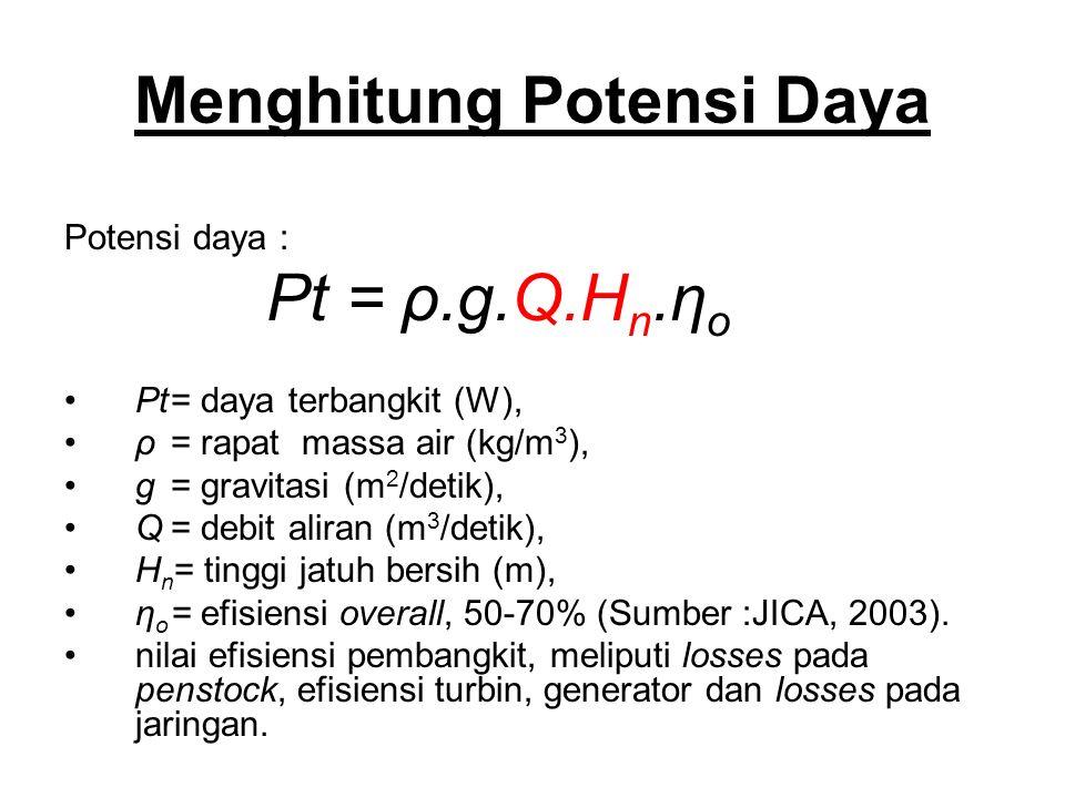 Menghitung Potensi Daya Potensi daya : Pt = ρ.g.Q.H n.η o Pt= daya terbangkit (W), ρ= rapat massa air (kg/m 3 ), g= gravitasi (m 2 /detik), Q= debit aliran (m 3 /detik), H n = tinggi jatuh bersih (m), η o = efisiensi overall, 50-70% (Sumber :JICA, 2003).