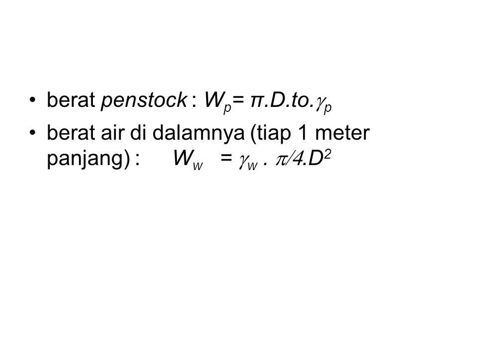 berat penstock : W p = π.D.to.  p berat air di dalamnya (tiap 1 meter panjang) : W w =  w. .D 2