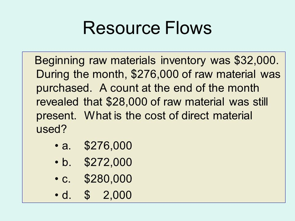 Resource Flows Beginning raw materials inventory was $32,000.