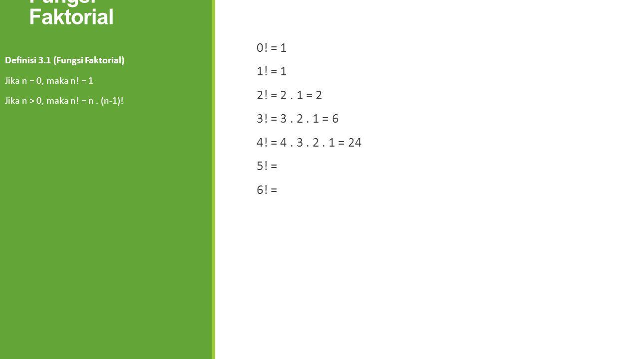 Fungsi Faktorial 0! = 1 1! = 1 2! = 2. 1 = 2 3! = 3. 2. 1 = 6 4! = 4. 3. 2. 1 = 24 5! = 6! = Definisi 3.1 (Fungsi Faktorial) Jika n = 0, maka n! = 1 J