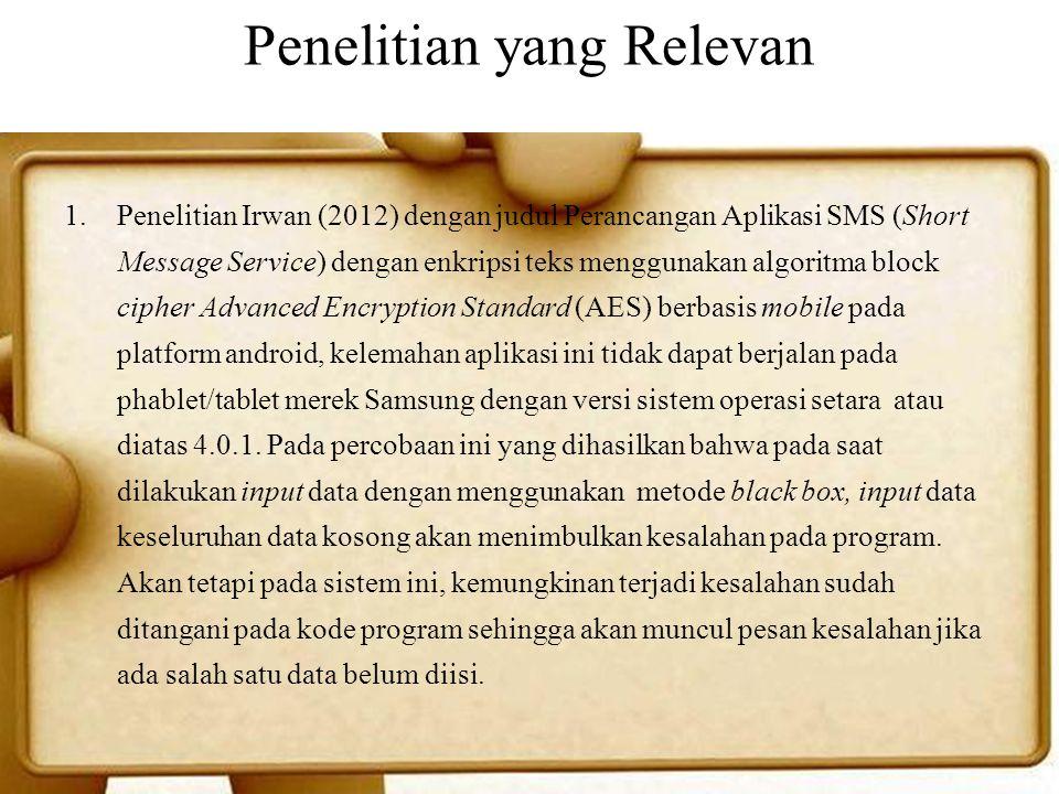 Penelitian yang Relevan 1.Penelitian Irwan (2012) dengan judul Perancangan Aplikasi SMS (Short Message Service) dengan enkripsi teks menggunakan algor