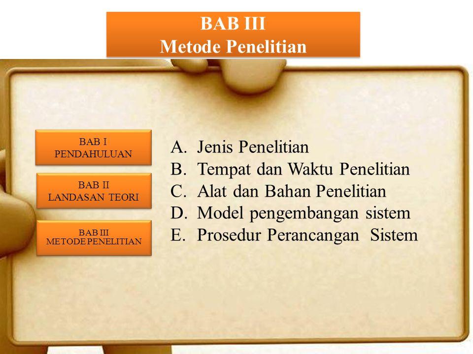 BAB III Metode Penelitian A.Jenis Penelitian B.Tempat dan Waktu Penelitian C.Alat dan Bahan Penelitian D.Model pengembangan sistem E.Prosedur Perancangan Sistem BAB II LANDASAN TEORI BAB II LANDASAN TEORI BAB III METODE PENELITIAN BAB III METODE PENELITIAN BAB I PENDAHULUAN BAB I PENDAHULUAN