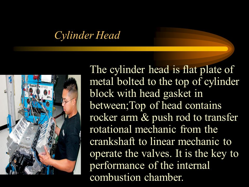 Cylinder Head The cylinder head is flat plate of metal bolted to the top of cylinder block with head gasket in between;Top of head contains rocker arm & push rod to transfer rotational mechanic from the crankshaft to linear mechanic to operate the valves.
