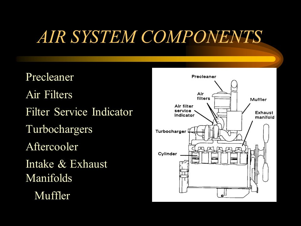 AIR SYSTEM COMPONENTS Precleaner Air Filters Filter Service Indicator Turbochargers Aftercooler Intake & Exhaust Manifolds Muffler