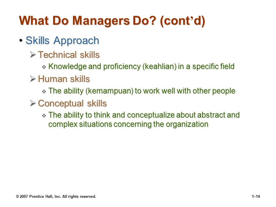 © 2007 Prentice Hall, Inc. All rights reserved.1–13 What Managers Actually Do (Mintzberg) InteractionInteraction  with others  with the organization