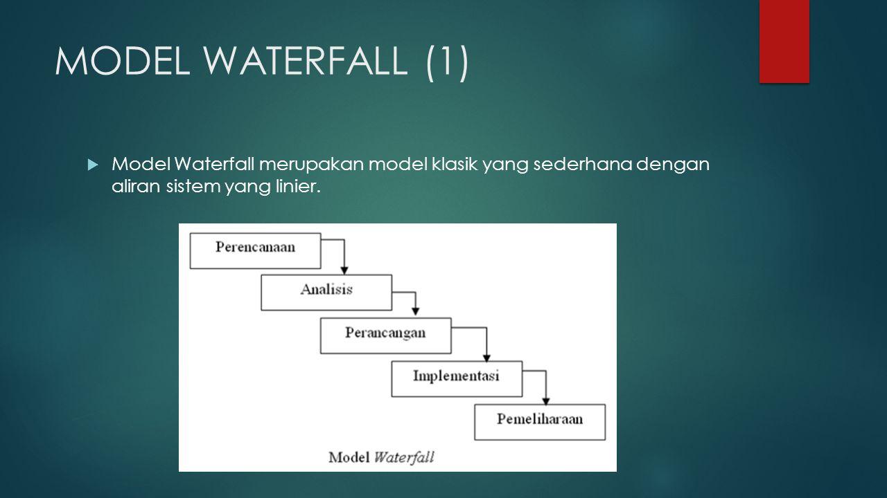MODEL WATERFALL (1)  Model Waterfall merupakan model klasik yang sederhana dengan aliran sistem yang linier.