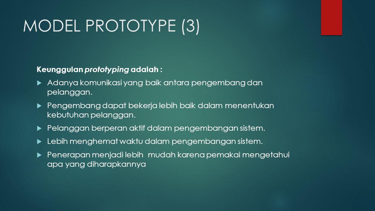 MODEL PROTOTYPE (3) Keunggulan prototyping adalah :  Adanya komunikasi yang baik antara pengembang dan pelanggan.