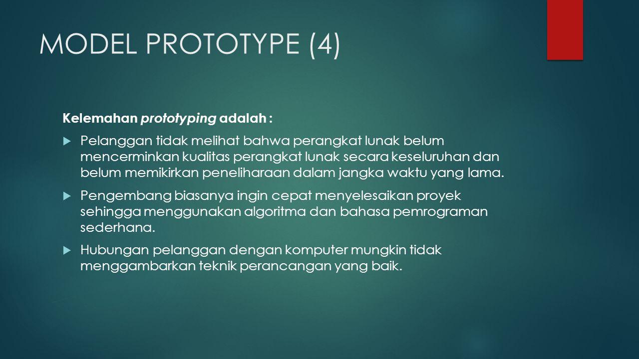 MODEL PROTOTYPE (4) Kelemahan prototyping adalah :  Pelanggan tidak melihat bahwa perangkat lunak belum mencerminkan kualitas perangkat lunak secara keseluruhan dan belum memikirkan peneliharaan dalam jangka waktu yang lama.