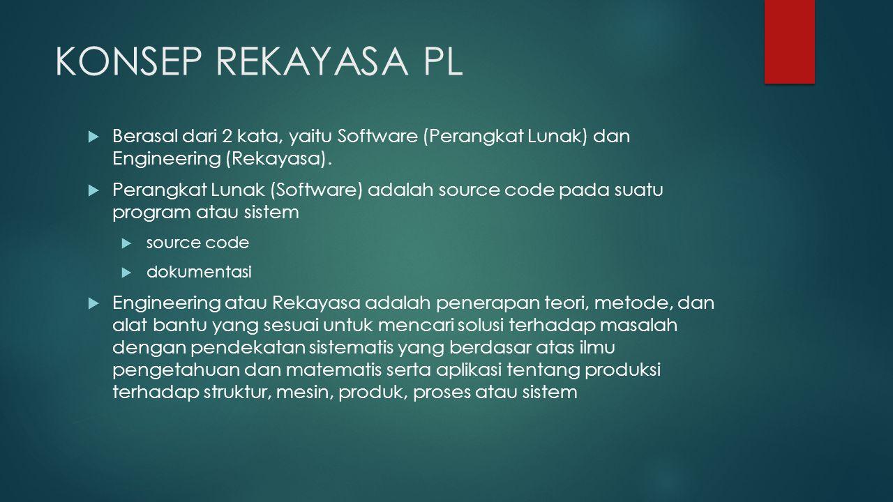DEFINISI REKAYASA PL  Rekayasa Perangkat Lunak adalah suatu disiplin rekayasa yang berkonsentrasi terhadap seluruh aspek produksi perangkat lunak mulai yang mencakup hal-hal teknis hingga hal-hal manajerial proyek PL.