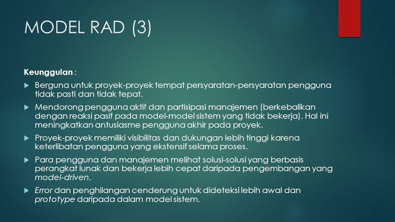 MODEL RAD (3) Keunggulan :  Berguna untuk proyek-proyek tempat persyaratan-persyaratan pengguna tidak pasti dan tidak tepat.