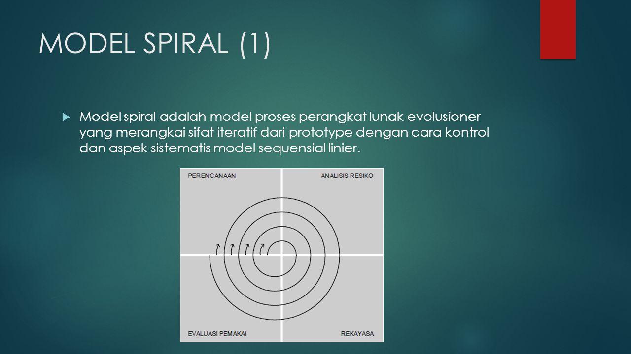 MODEL SPIRAL (1)  Model spiral adalah model proses perangkat lunak evolusioner yang merangkai sifat iteratif dari prototype dengan cara kontrol dan aspek sistematis model sequensial linier.
