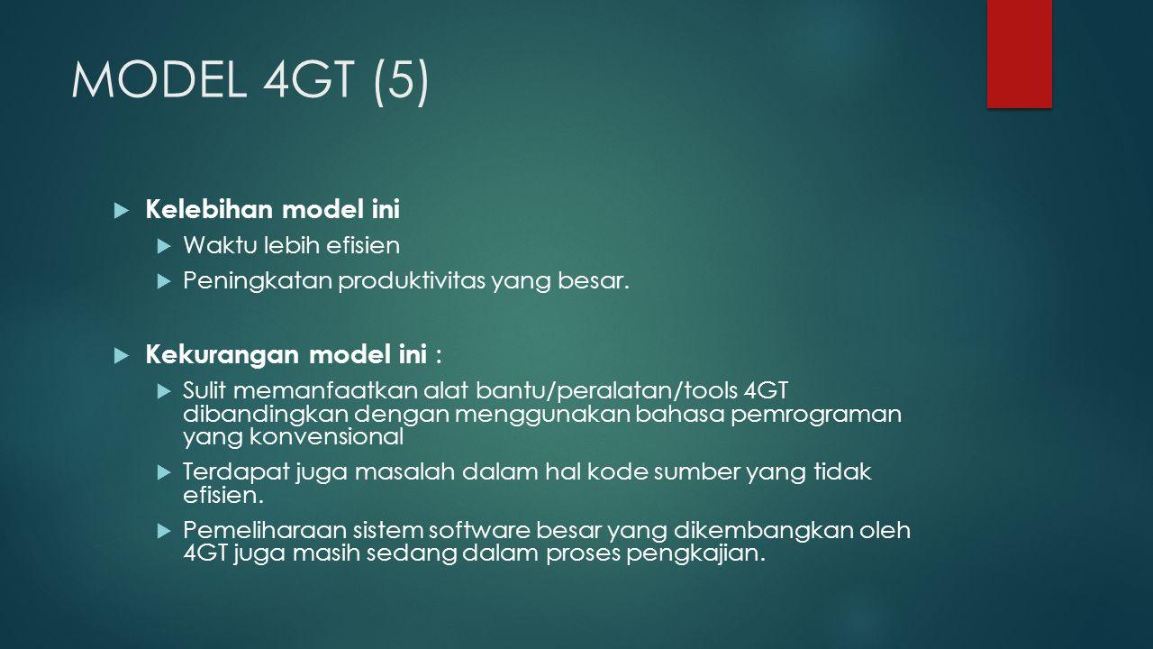 MODEL 4GT (5)  Kelebihan model ini  Waktu lebih efisien  Peningkatan produktivitas yang besar.