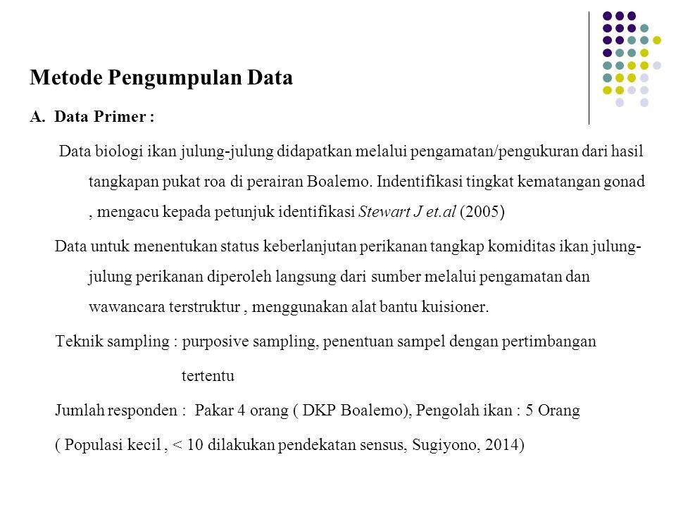 Metode Pengumpulan Data A. Data Primer : Data biologi ikan julung-julung didapatkan melalui pengamatan/pengukuran dari hasil tangkapan pukat roa di pe