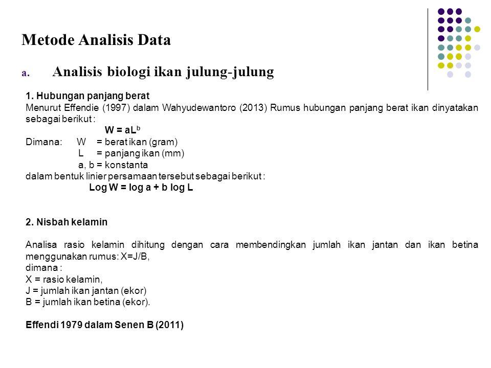 Metode Analisis Data a. Analisis biologi ikan julung-julung 1. Hubungan panjang berat Menurut Effendie (1997) dalam Wahyudewantoro (2013) Rumus hubung