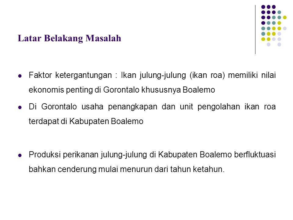 Latar Belakang Masalah Faktor ketergantungan : Ikan julung-julung (ikan roa) memiliki nilai ekonomis penting di Gorontalo khususnya Boalemo Di Goronta