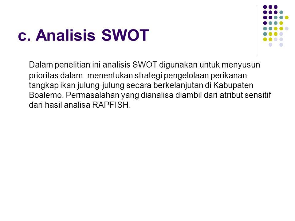 c. Analisis SWOT Dalam penelitian ini analisis SWOT digunakan untuk menyusun prioritas dalam menentukan strategi pengelolaan perikanan tangkap ikan ju