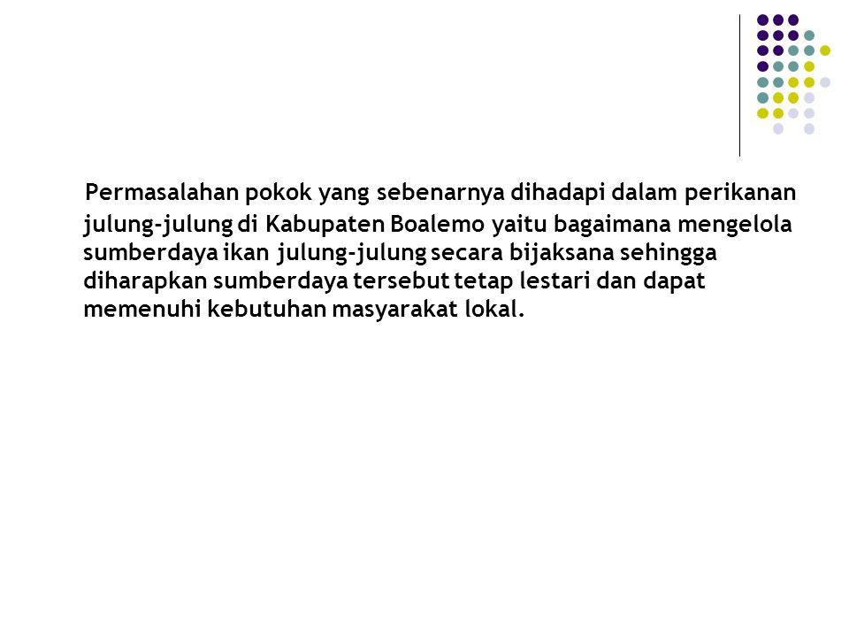 Perumusan Masalah Bagaimana dinamika penangkapan ikan julung-julung di Kabupaten Boalemo .