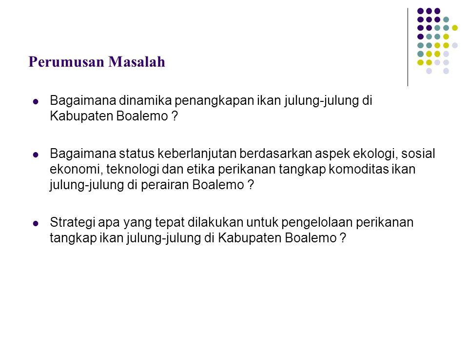 Perumusan Masalah Bagaimana dinamika penangkapan ikan julung-julung di Kabupaten Boalemo ? Bagaimana status keberlanjutan berdasarkan aspek ekologi, s