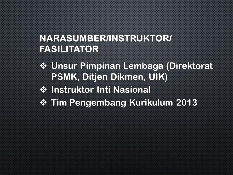 NARASUMBER/INSTRUKTOR/ FASILITATOR  Unsur Pimpinan Lembaga (Direktorat PSMK, Ditjen Dikmen, UIK)  Instruktor Inti Nasional  Tim Pengembang Kurikulum 2013