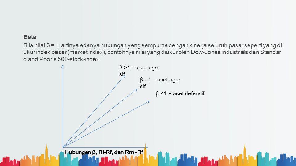 Beta Bila nilai β = 1 artinya adanya hubungan yang sempurna dengan kinerja seluruh pasar seperti yang di ukur indek pasar (market index), contohnya ni