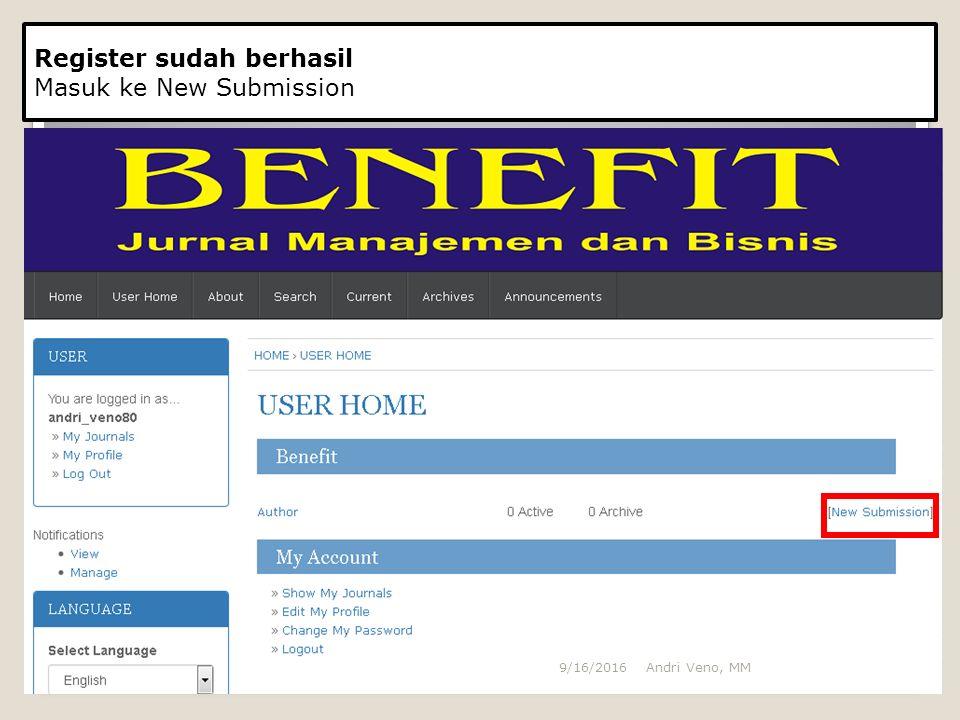 Langkah Mengupload Artikel Step 1 Memilih kategori Artikel yang akan di upload Memberikan tanda centang artikel yang sudah sesuai dengan aturan penulisan Jurnal BENEFIT Andri Veno, MM9/16/2016
