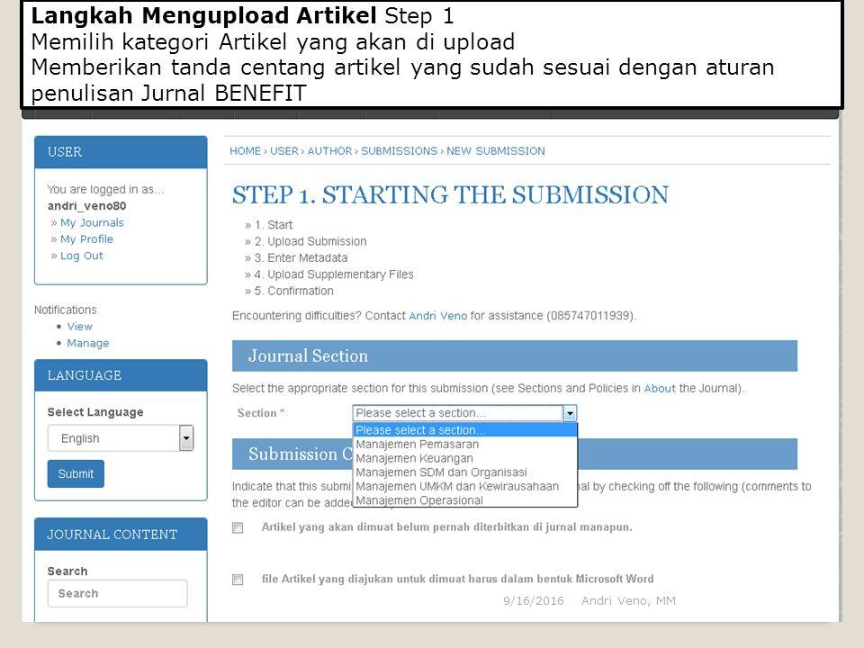 Langkah Mengupload Artikel Step 1 Memilih kategori Artikel yang akan di upload Memberikan tanda centang artikel yang sudah sesuai dengan aturan penuli