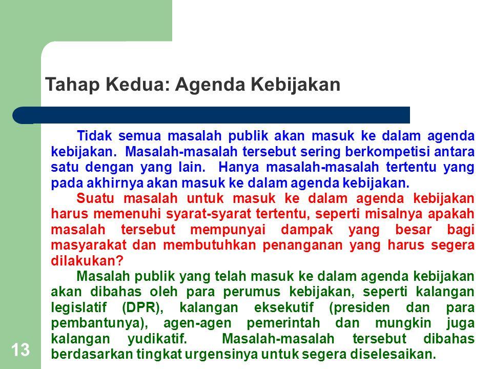 13 Tahap Kedua: Agenda Kebijakan Tidak semua masalah publik akan masuk ke dalam agenda kebijakan. Masalah-masalah tersebut sering berkompetisi antara