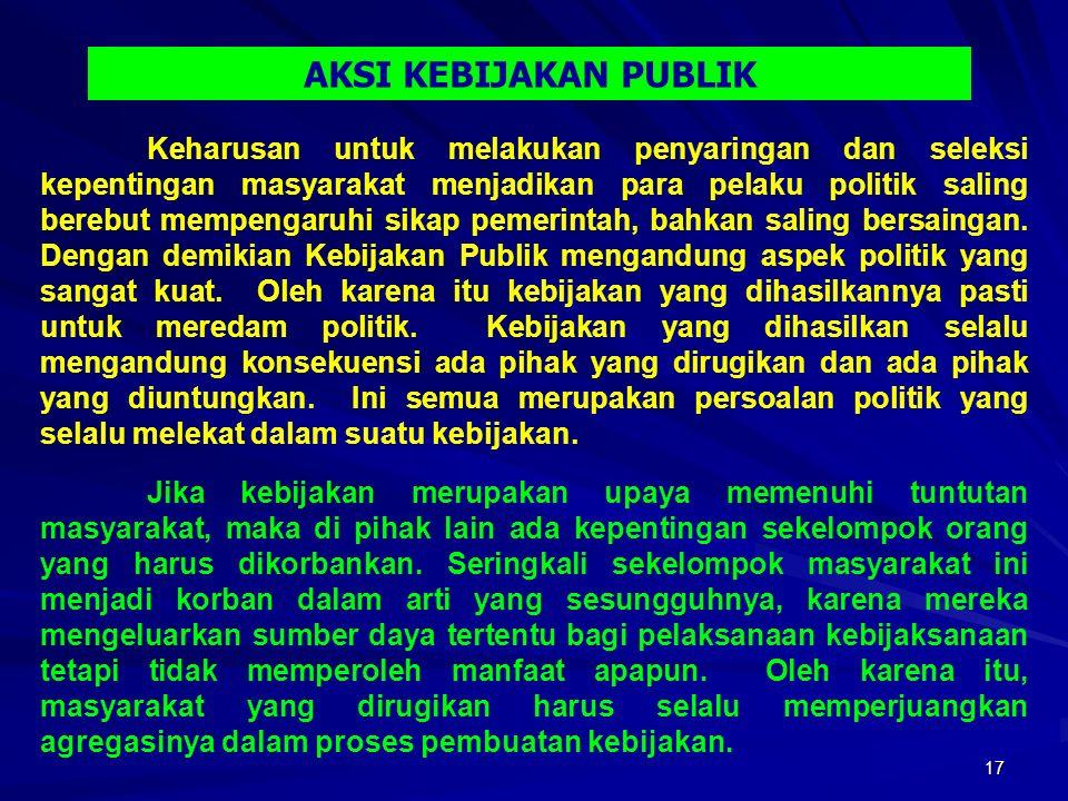 17 Keharusan untuk melakukan penyaringan dan seleksi kepentingan masyarakat menjadikan para pelaku politik saling berebut mempengaruhi sikap pemerintah, bahkan saling bersaingan.