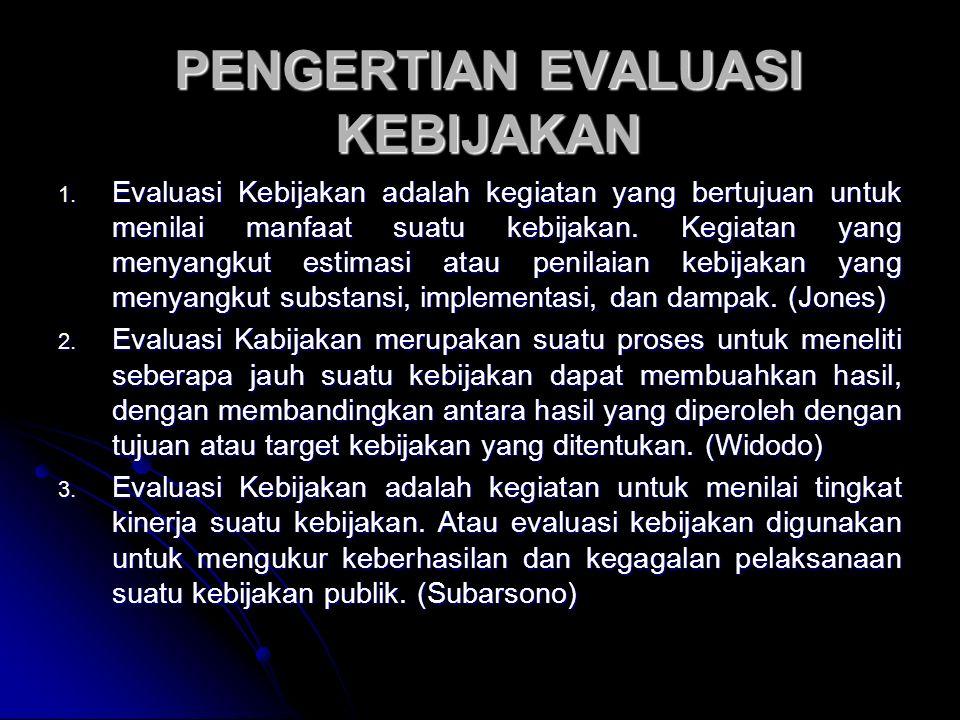 PENGERTIAN EVALUASI KEBIJAKAN 1.