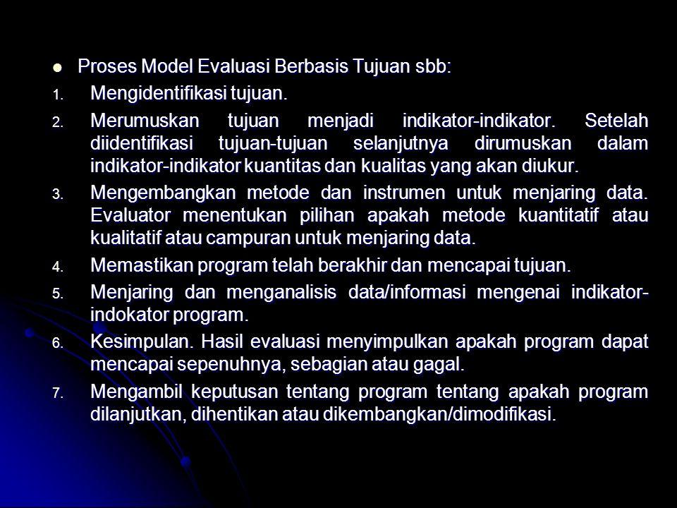 Proses Model Evaluasi Berbasis Tujuan sbb: Proses Model Evaluasi Berbasis Tujuan sbb: 1.