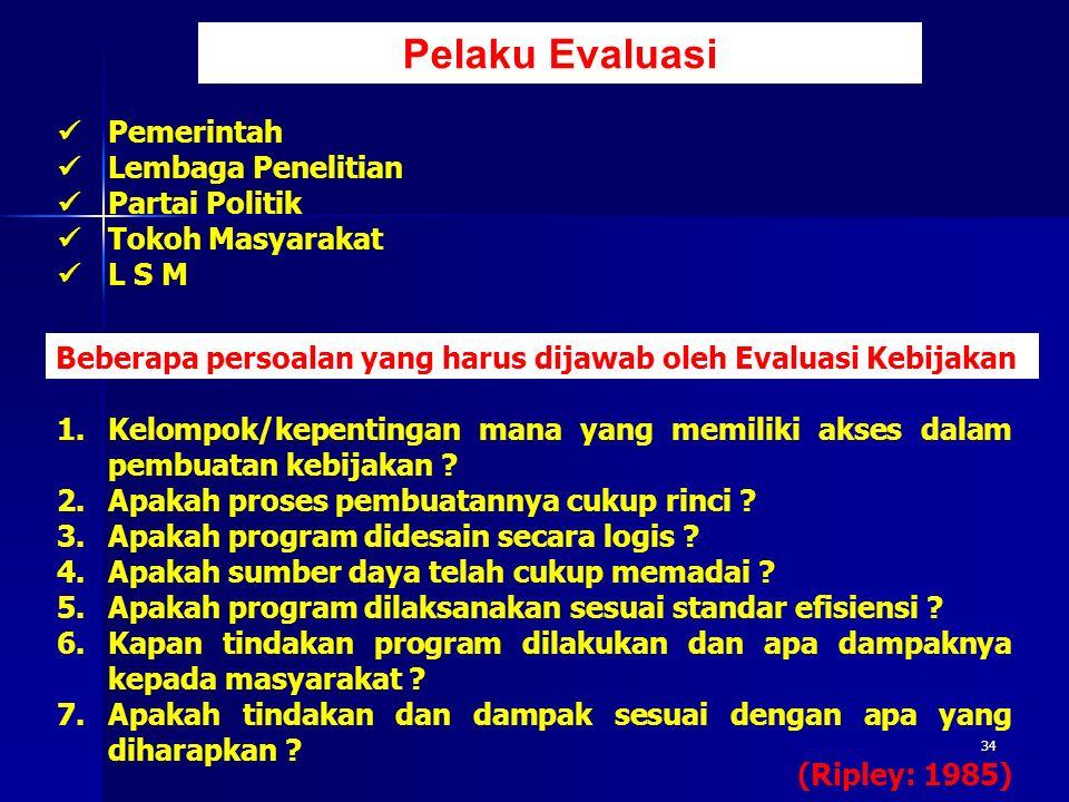 34 Pelaku Evaluasi Beberapa persoalan yang harus dijawab oleh Evaluasi Kebijakan 1.Kelompok/kepentingan mana yang memiliki akses dalam pembuatan kebij