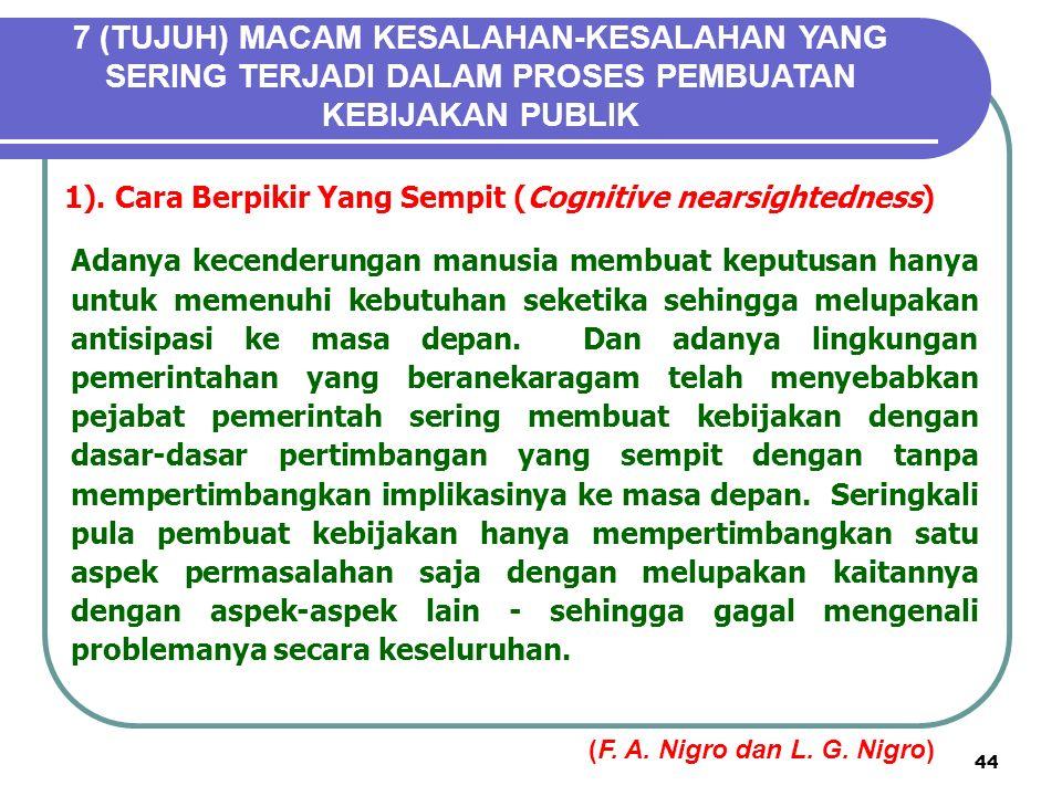 44 7 (TUJUH) MACAM KESALAHAN-KESALAHAN YANG SERING TERJADI DALAM PROSES PEMBUATAN KEBIJAKAN PUBLIK 1).Cara Berpikir Yang Sempit (Cognitive nearsightedness) Adanya kecenderungan manusia membuat keputusan hanya untuk memenuhi kebutuhan seketika sehingga melupakan antisipasi ke masa depan.