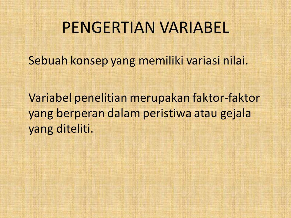 PENGERTIAN VARIABEL Sebuah konsep yang memiliki variasi nilai. Variabel penelitian merupakan faktor-faktor yang berperan dalam peristiwa atau gejala y
