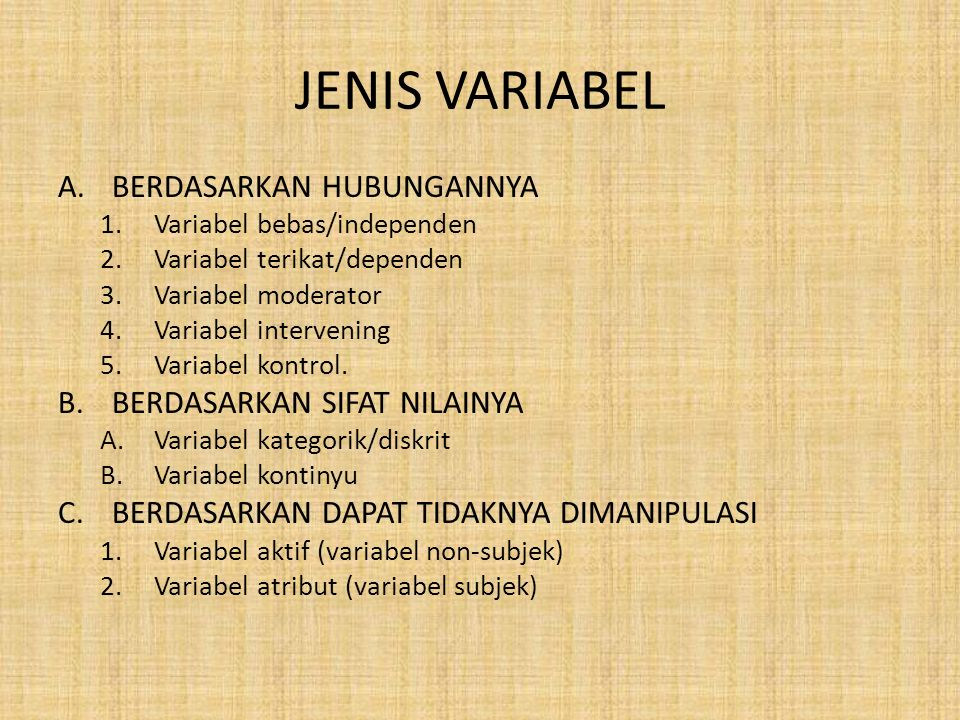 JENIS VARIABEL A.BERDASARKAN HUBUNGANNYA 1.Variabel bebas/independen 2.Variabel terikat/dependen 3.Variabel moderator 4.Variabel intervening 5.Variabel kontrol.