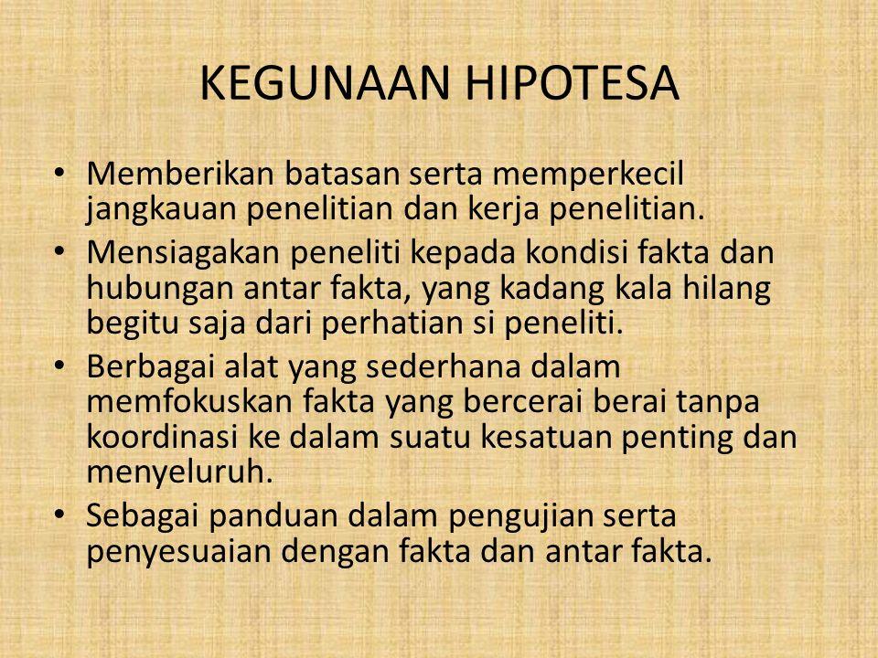 KEGUNAAN HIPOTESA Memberikan batasan serta memperkecil jangkauan penelitian dan kerja penelitian.