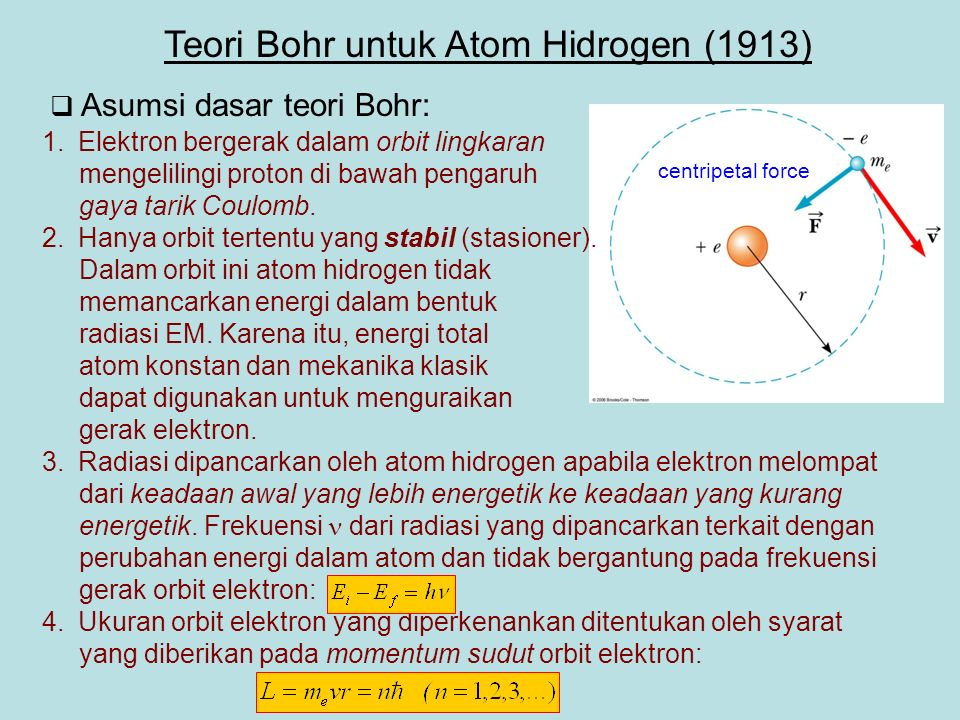 Asumsi dasar teori Bohr: 1.Elektron bergerak dalam orbit lingkaran mengelilingi proton di bawah pengaruh gaya tarik Coulomb.