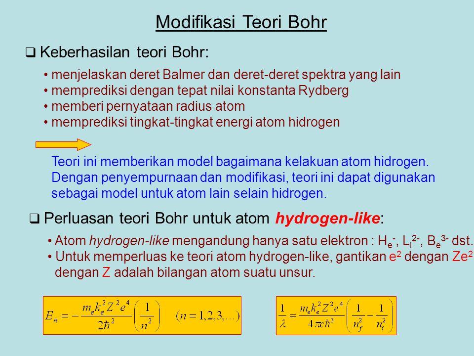  Keberhasilan teori Bohr: Modifikasi Teori Bohr menjelaskan deret Balmer dan deret-deret spektra yang lain memprediksi dengan tepat nilai konstanta Rydberg memberi pernyataan radius atom memprediksi tingkat-tingkat energi atom hidrogen Teori ini memberikan model bagaimana kelakuan atom hidrogen.