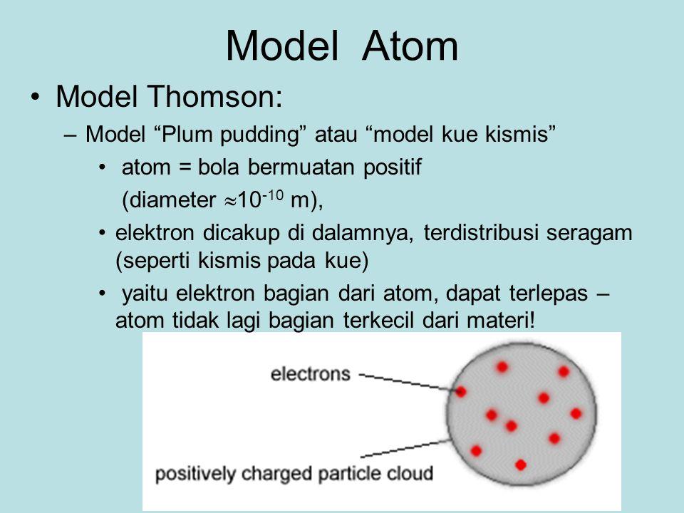 Model Thomson: –Model Plum pudding atau model kue kismis atom = bola bermuatan positif (diameter  10 -10 m), elektron dicakup di dalamnya, terdistribusi seragam (seperti kismis pada kue) yaitu elektron bagian dari atom, dapat terlepas – atom tidak lagi bagian terkecil dari materi.