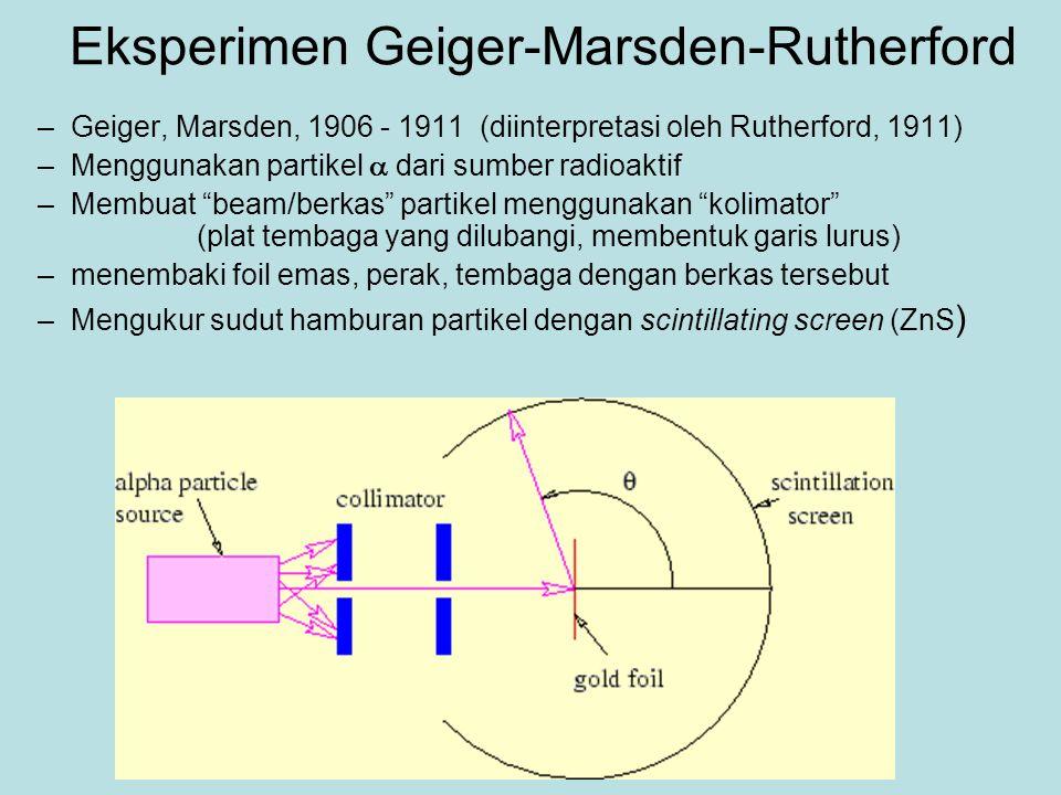 Eksperimen Geiger-Marsden-Rutherford –Geiger, Marsden, 1906 - 1911 (diinterpretasi oleh Rutherford, 1911) –Menggunakan partikel  dari sumber radioaktif –Membuat beam/berkas partikel menggunakan kolimator (plat tembaga yang dilubangi, membentuk garis lurus) –menembaki foil emas, perak, tembaga dengan berkas tersebut –Mengukur sudut hamburan partikel dengan scintillating screen (ZnS )