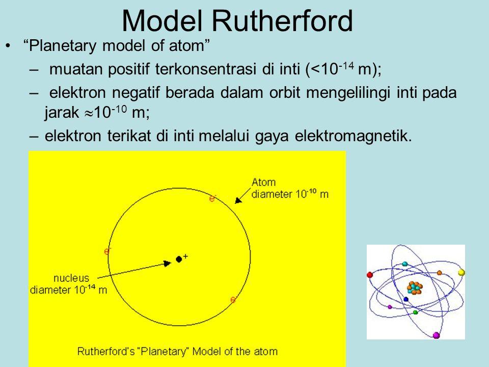 Model Rutherford Planetary model of atom – muatan positif terkonsentrasi di inti (<10 -14 m); – elektron negatif berada dalam orbit mengelilingi inti pada jarak  10 -10 m; –elektron terikat di inti melalui gaya elektromagnetik.