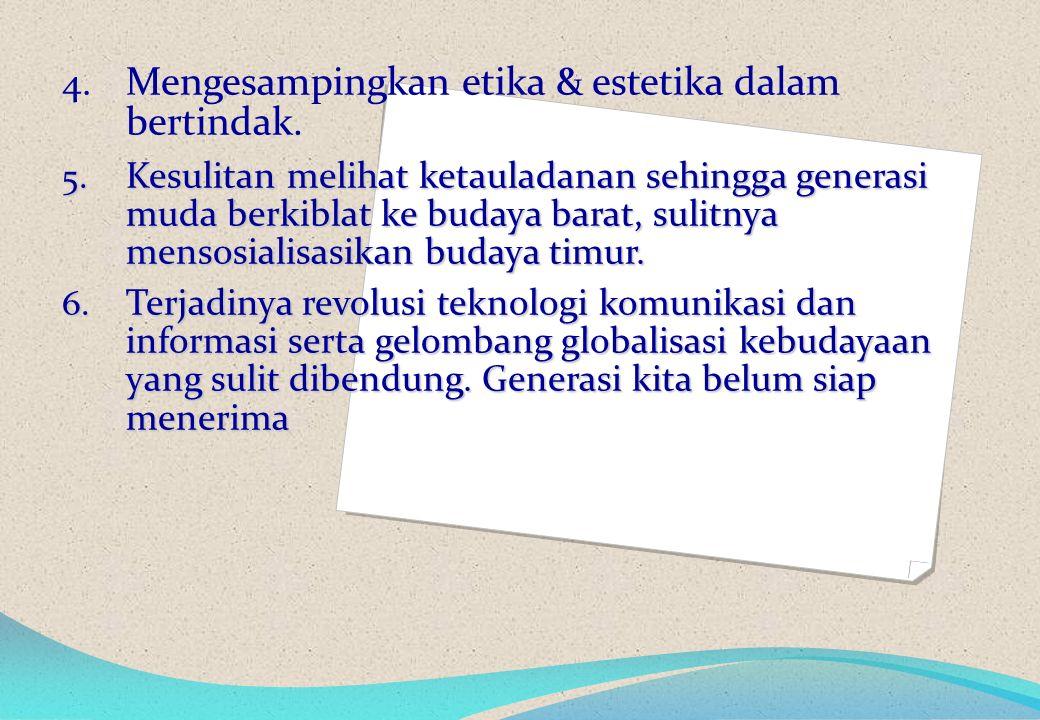 4. Mengesampingkan etika & estetika dalam bertindak.
