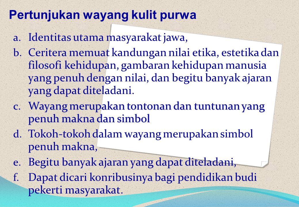 a. Identitas utama masyarakat jawa, b.
