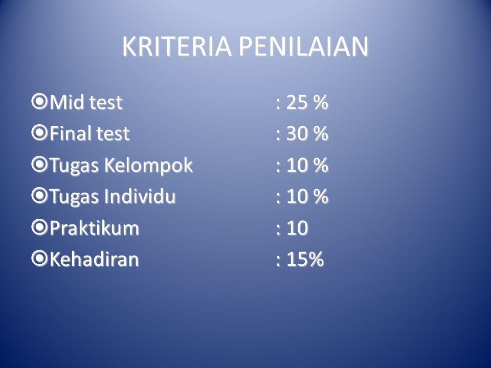 KRITERIA PENILAIAN  Mid test: 25 %  Final test: 30 %  Tugas Kelompok: 10 %  Tugas Individu: 10 %  Praktikum: 10  Kehadiran: 15%
