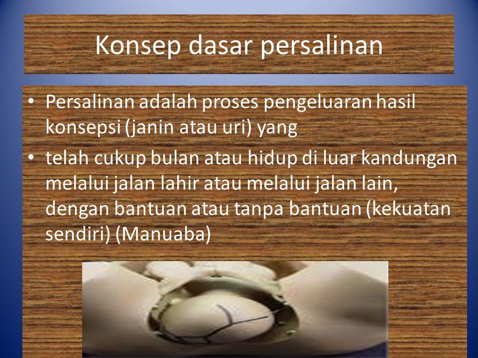 Konsep dasar persalinan Persalinan adalah proses pengeluaran hasil konsepsi (janin atau uri) yang telah cukup bulan atau hidup di luar kandungan melal