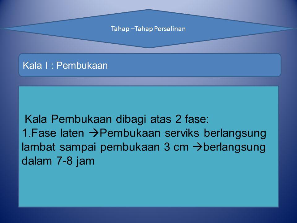 Tahap –Tahap Persalinan Kala I : Pembukaan Kala Pembukaan dibagi atas 2 fase: 1.Fase laten  Pembukaan serviks berlangsung lambat sampai pembukaan 3 cm  berlangsung dalam 7-8 jam