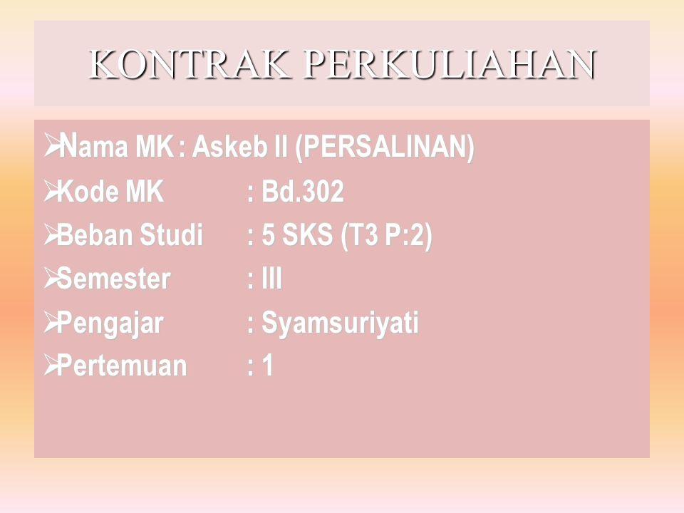 KONTRAK PERKULIAHAN  N ama MK: Askeb II (PERSALINAN)  Kode MK: Bd.302  Beban Studi: 5 SKS (T3 P:2)  Semester: III  Pengajar: Syamsuriyati  Perte