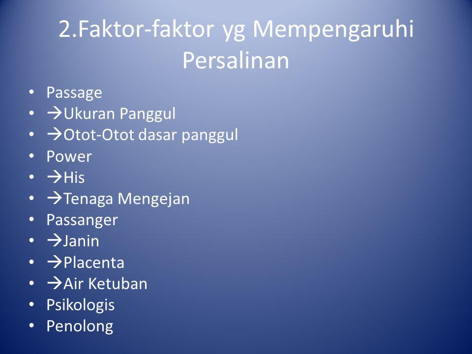 2.Faktor-faktor yg Mempengaruhi Persalinan Passage  Ukuran Panggul  Otot-Otot dasar panggul Power  His  Tenaga Mengejan Passanger  Janin  Placen