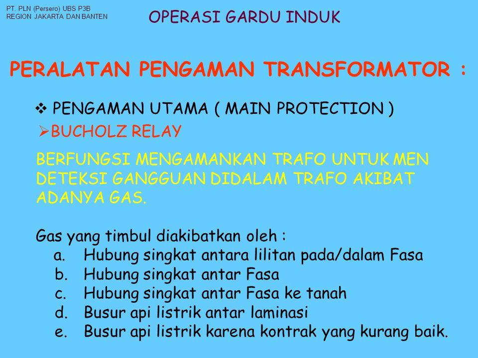 OPERASI GARDU INDUK PERALATAN PENGAMAN TRANSFORMATOR : PT. PLN (Persero) UBS P3B REGION JAKARTA DAN BANTEN  PENGAMAN UTAMA ( MAIN PROTECTION )  BUCH