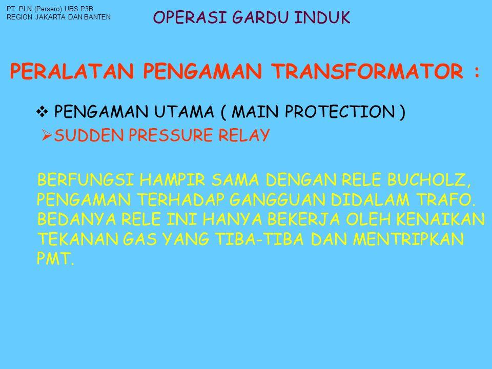 OPERASI GARDU INDUK PERALATAN PENGAMAN TRANSFORMATOR : PT. PLN (Persero) UBS P3B REGION JAKARTA DAN BANTEN  PENGAMAN UTAMA ( MAIN PROTECTION ) BERFUN