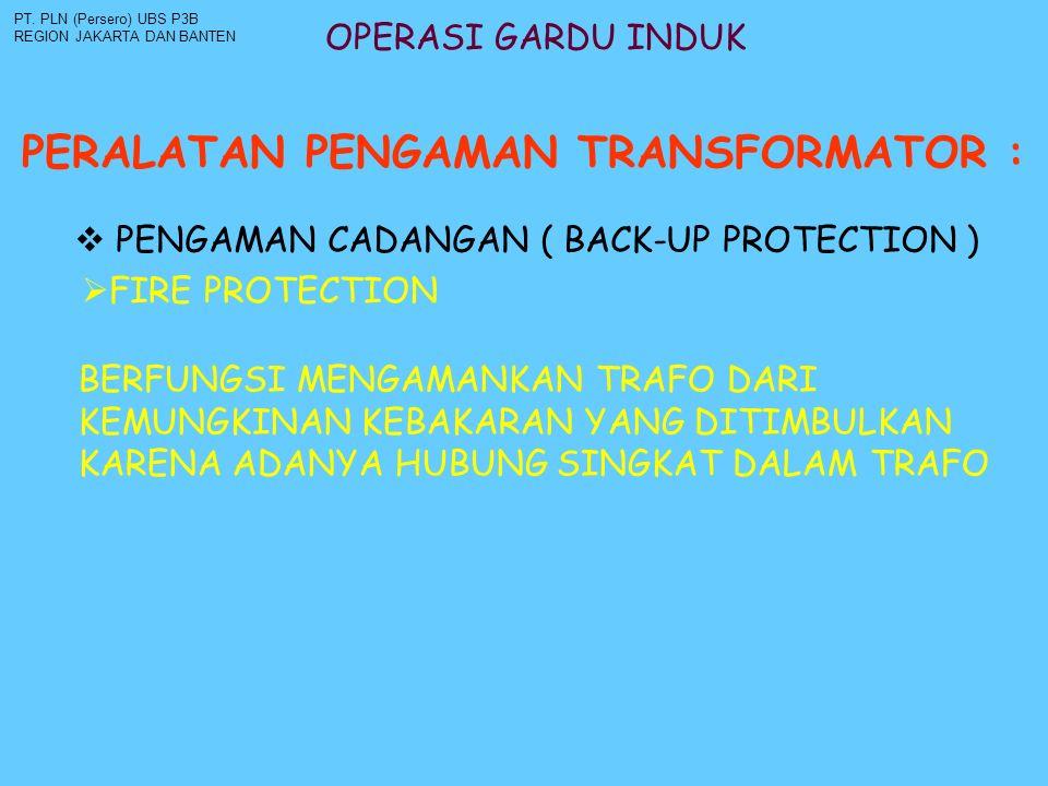 OPERASI GARDU INDUK PERALATAN PENGAMAN TRANSFORMATOR : PT. PLN (Persero) UBS P3B REGION JAKARTA DAN BANTEN  PENGAMAN CADANGAN ( BACK-UP PROTECTION )
